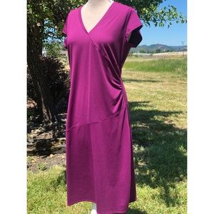 Athleta Nectar athleisure ruched faux wrap dress L